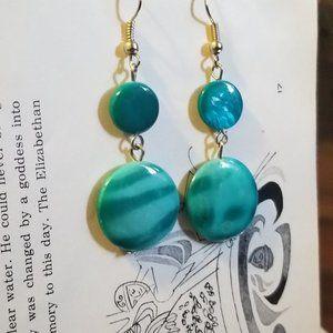 Blue Circle Dangle Drop Earrings *flaw*
